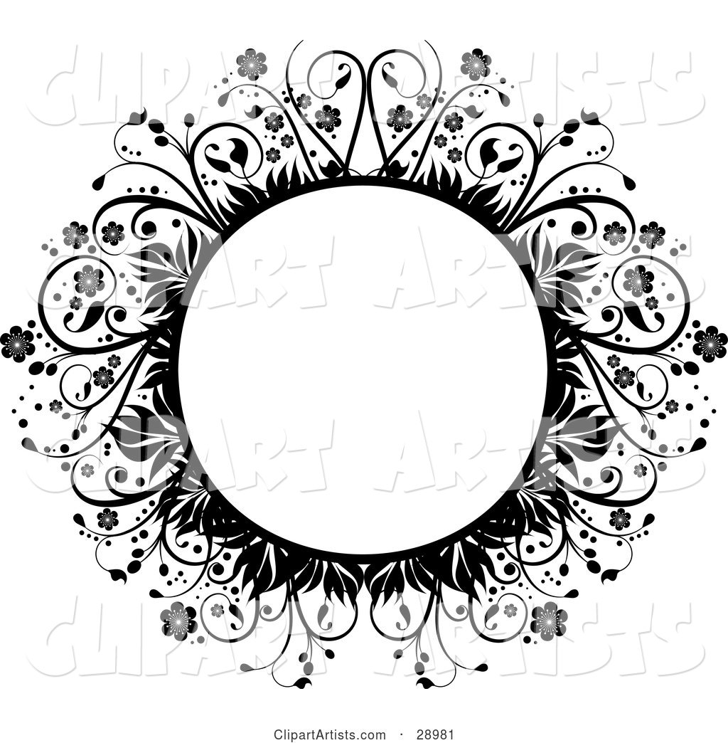 Blank Circle Framed by Black Flowers, Leaves and Vines, over White