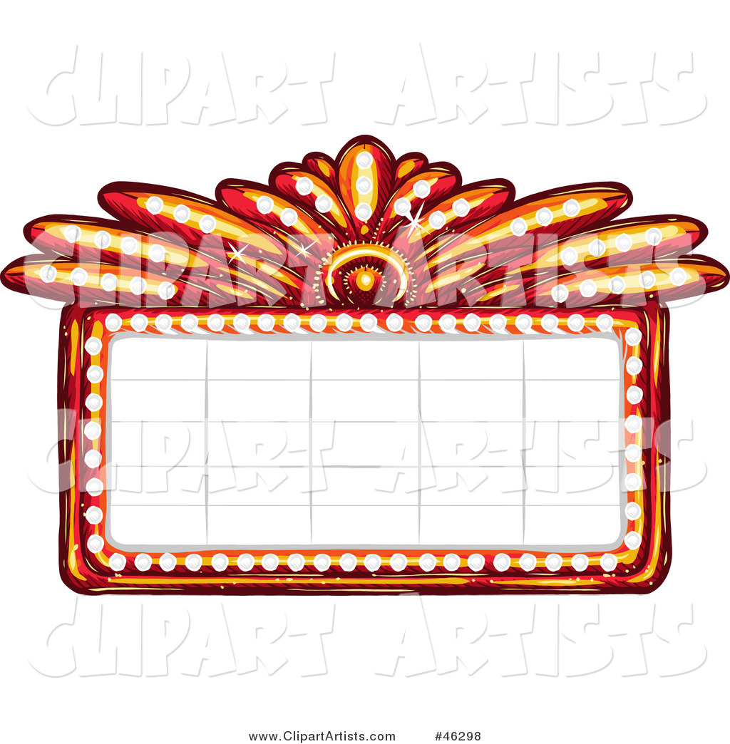 Blank Illuminated Red Casino or Theater Marquee Sign