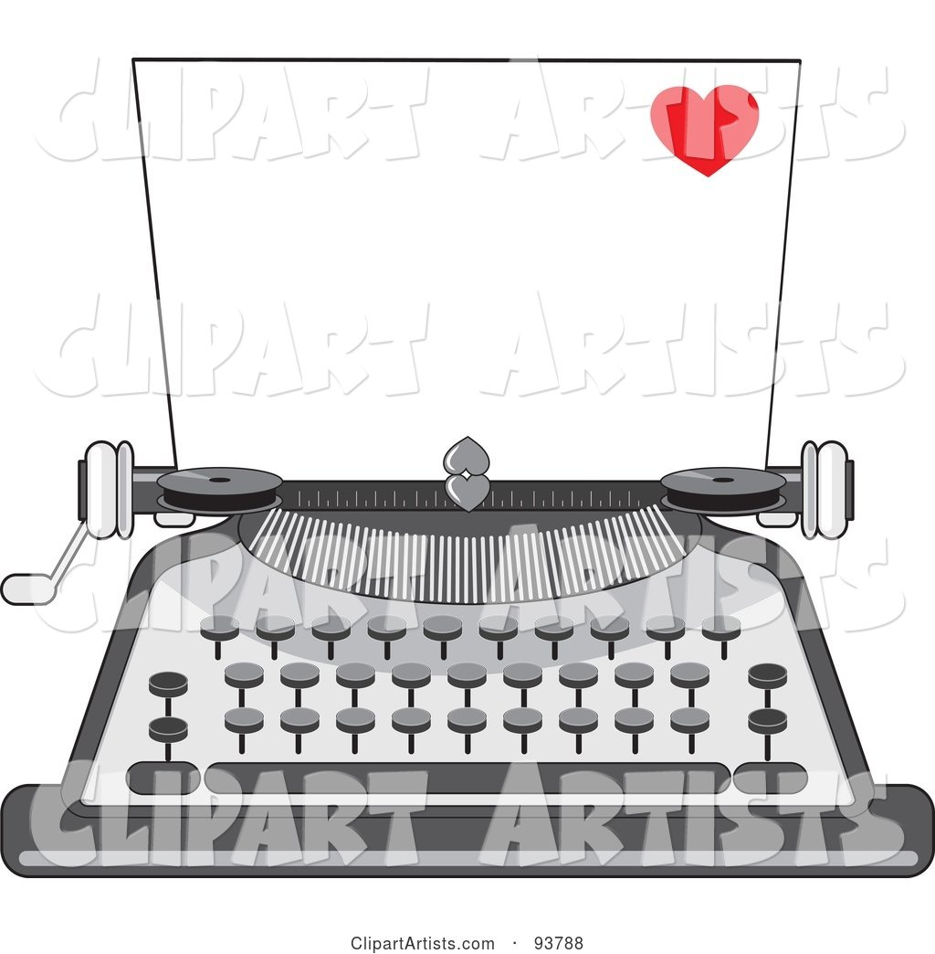 Blank Piece of Paper in a Vintage Typewriter, a Little Red Heart in the Corner