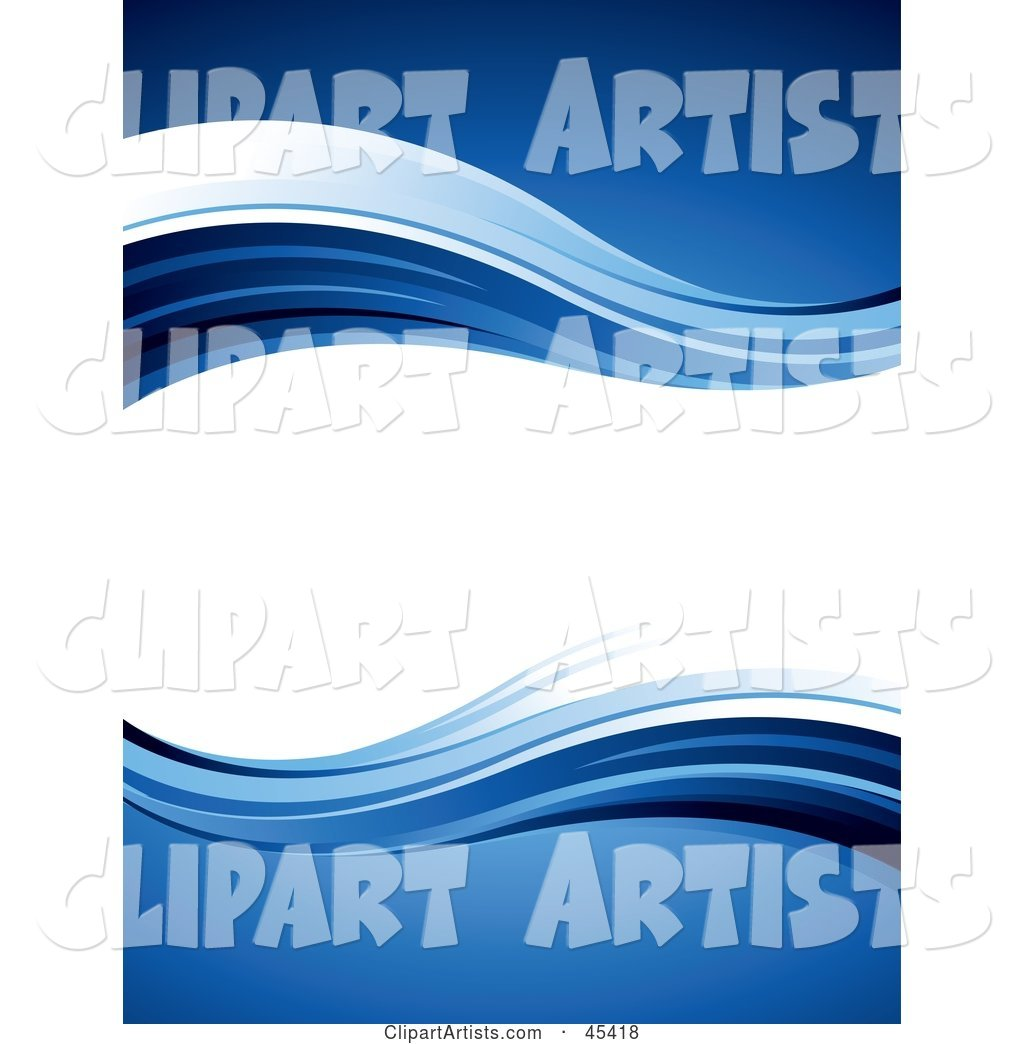 Blank Wavy White Text Box Bordered in Blue Waves