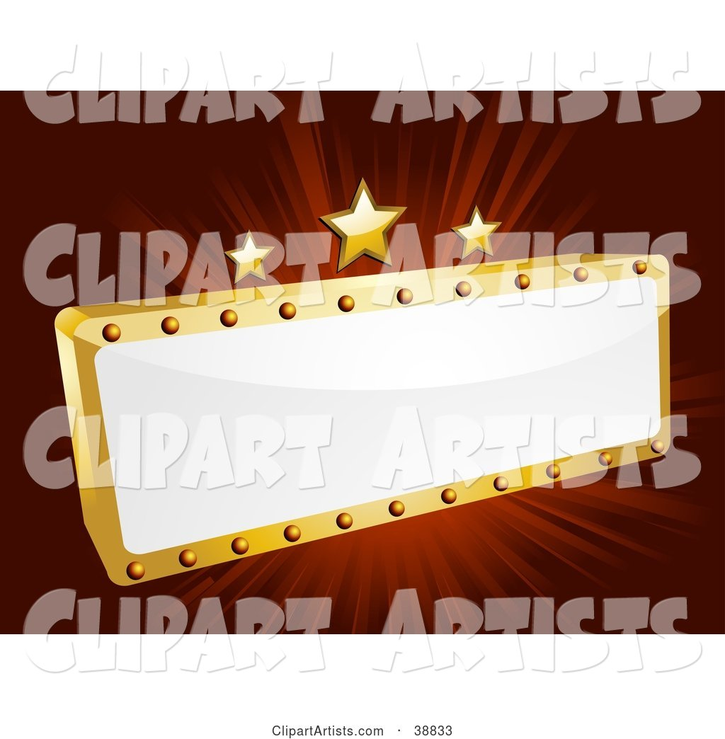 Blank White and Gold Movie Theater Sign with Three Stars on a Bursting Red Background