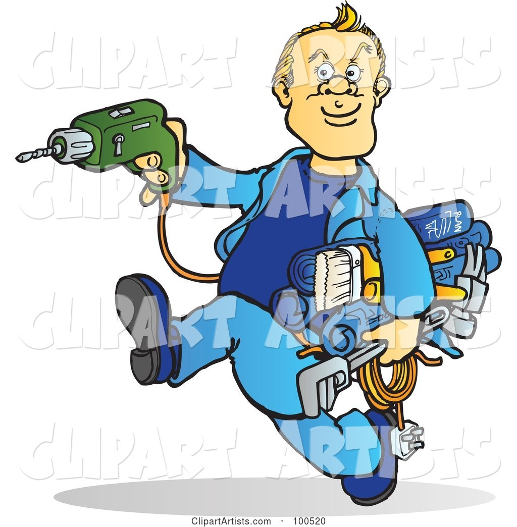 Blond Handy Man Running with Tools in His Hands