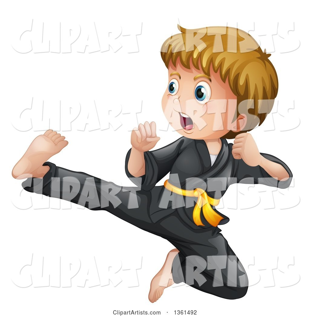 Blond White Karate Boy Jumping and Kicking