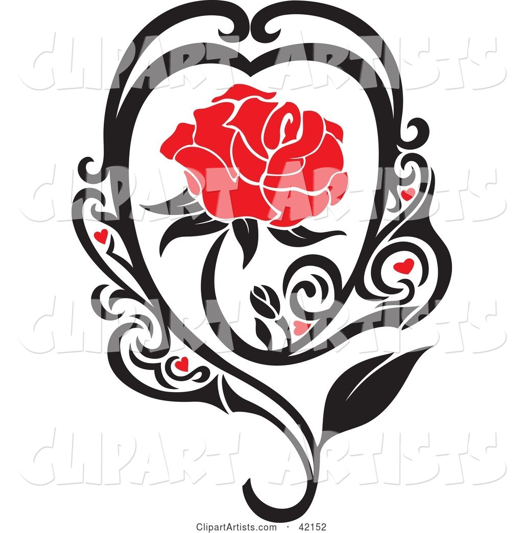 Blooming Red Rose in a Black Vine with Hearts