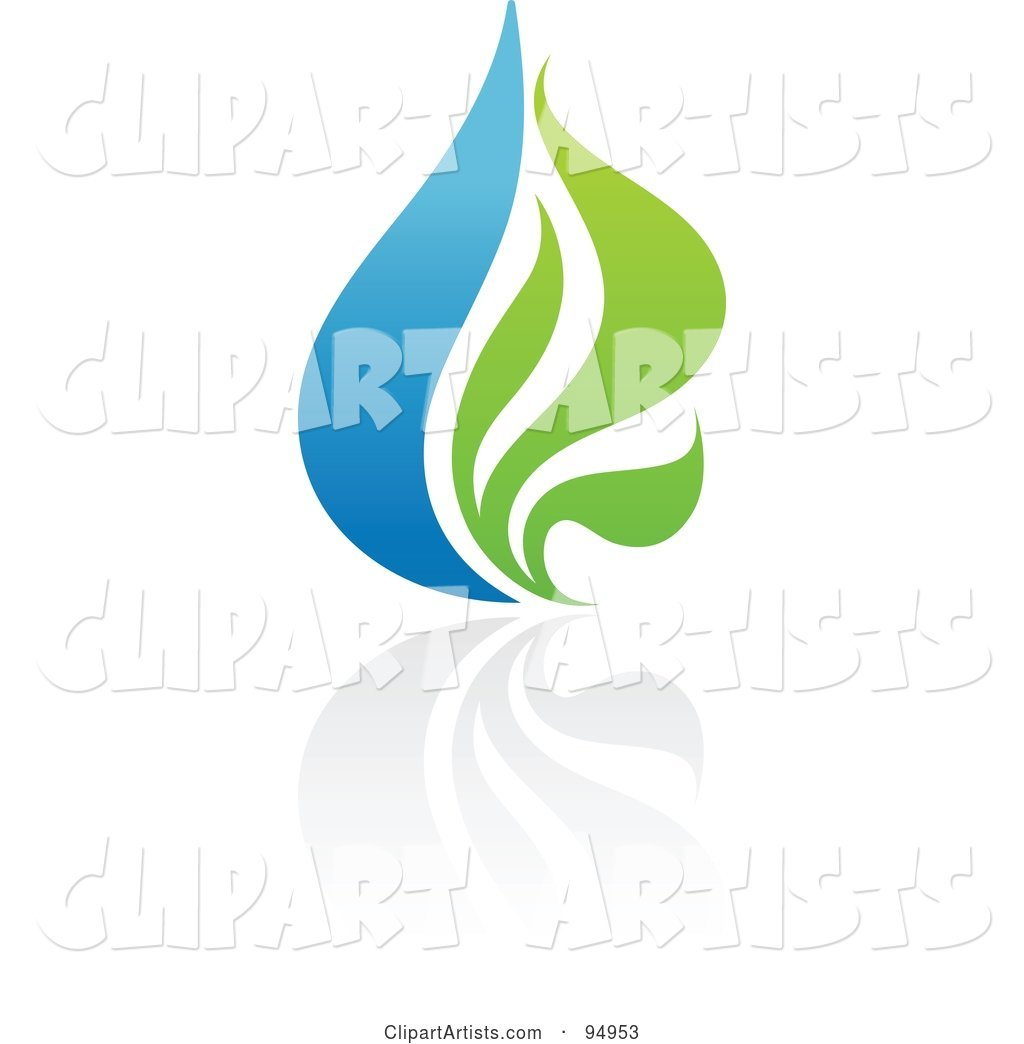 Blue and Green Organic and Ecology Water Drop Logo Design or App Icon - 1