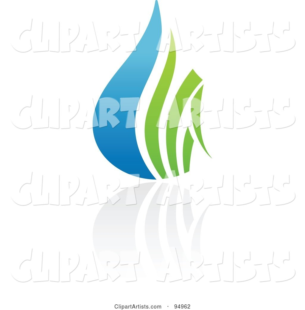 Blue and Green Organic and Ecology Water Drop Logo Design or App Icon - 3