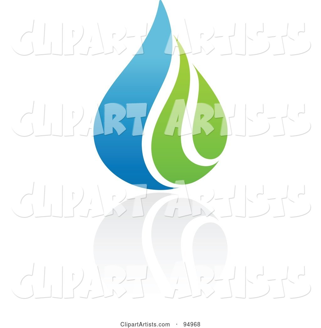 Blue and Green Organic and Ecology Water Drop Logo Design or App Icon - 4