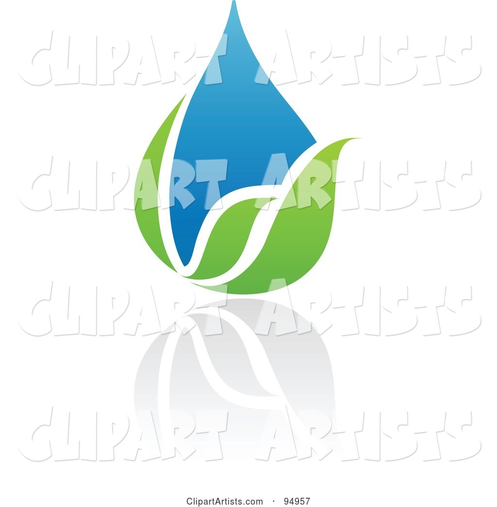 Blue and Green Organic and Ecology Water Drop Logo Design or App Icon - 5