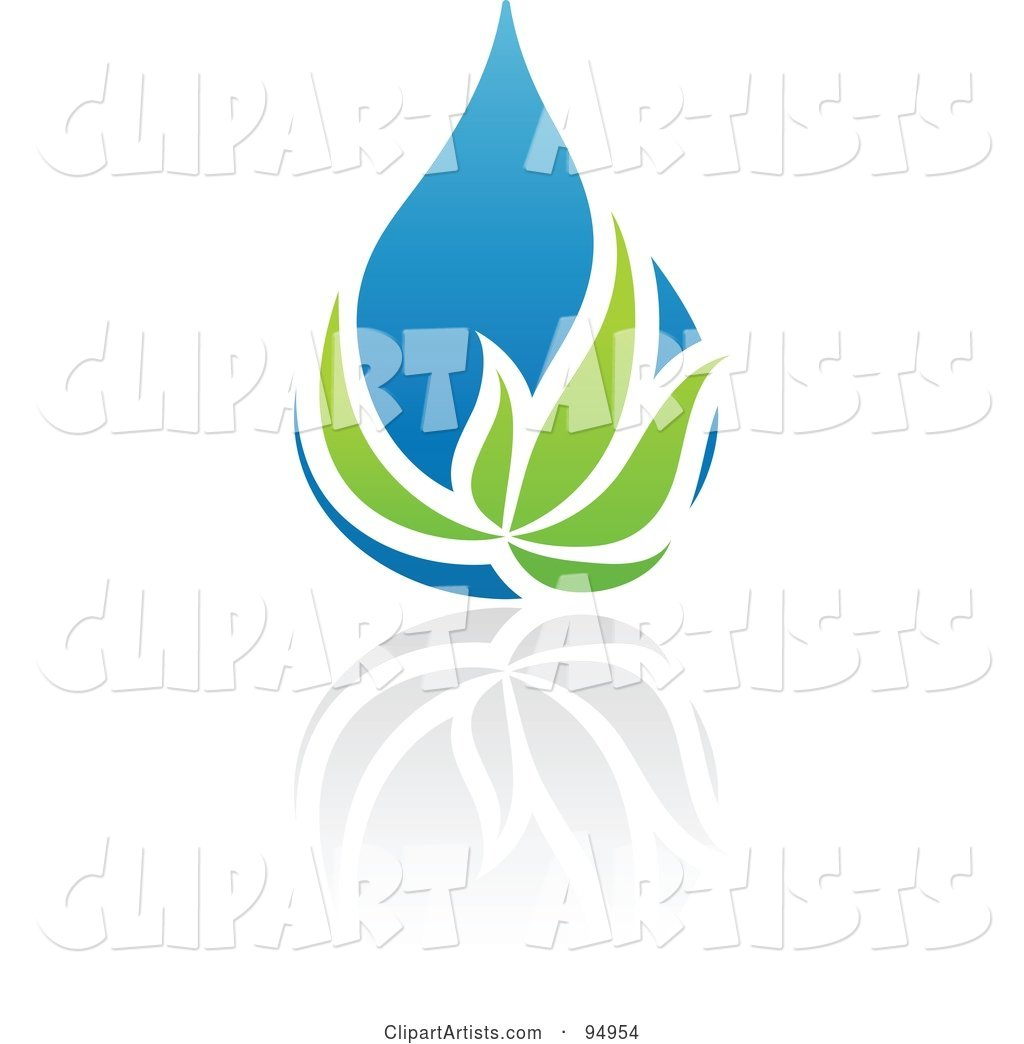 Blue and Green Organic and Ecology Water Drop Logo Design or App Icon - 7