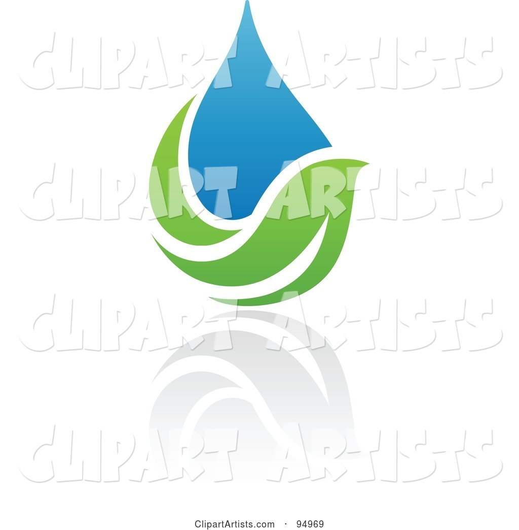 Blue and Green Organic and Ecology Water Drop Logo Design or App Icon - 8