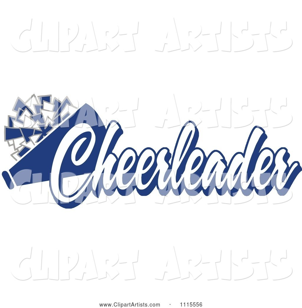 Blue Cheerleader Text with a Pom Pom and Megaphone