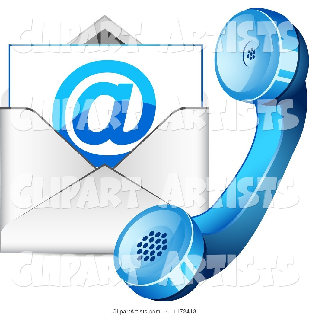 Blue Contact Telphone and Email Icon