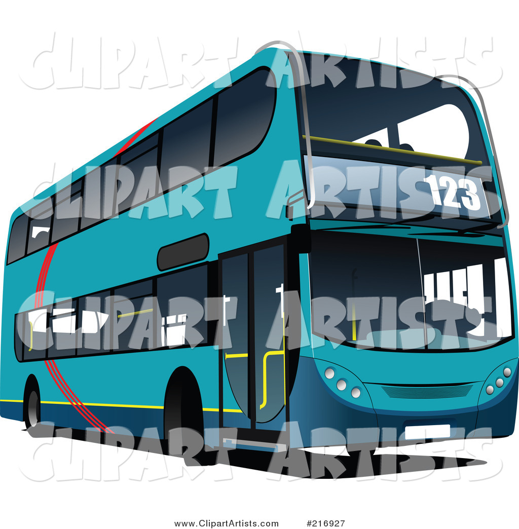 Blue Double Decker Bus with Numbers on the Front