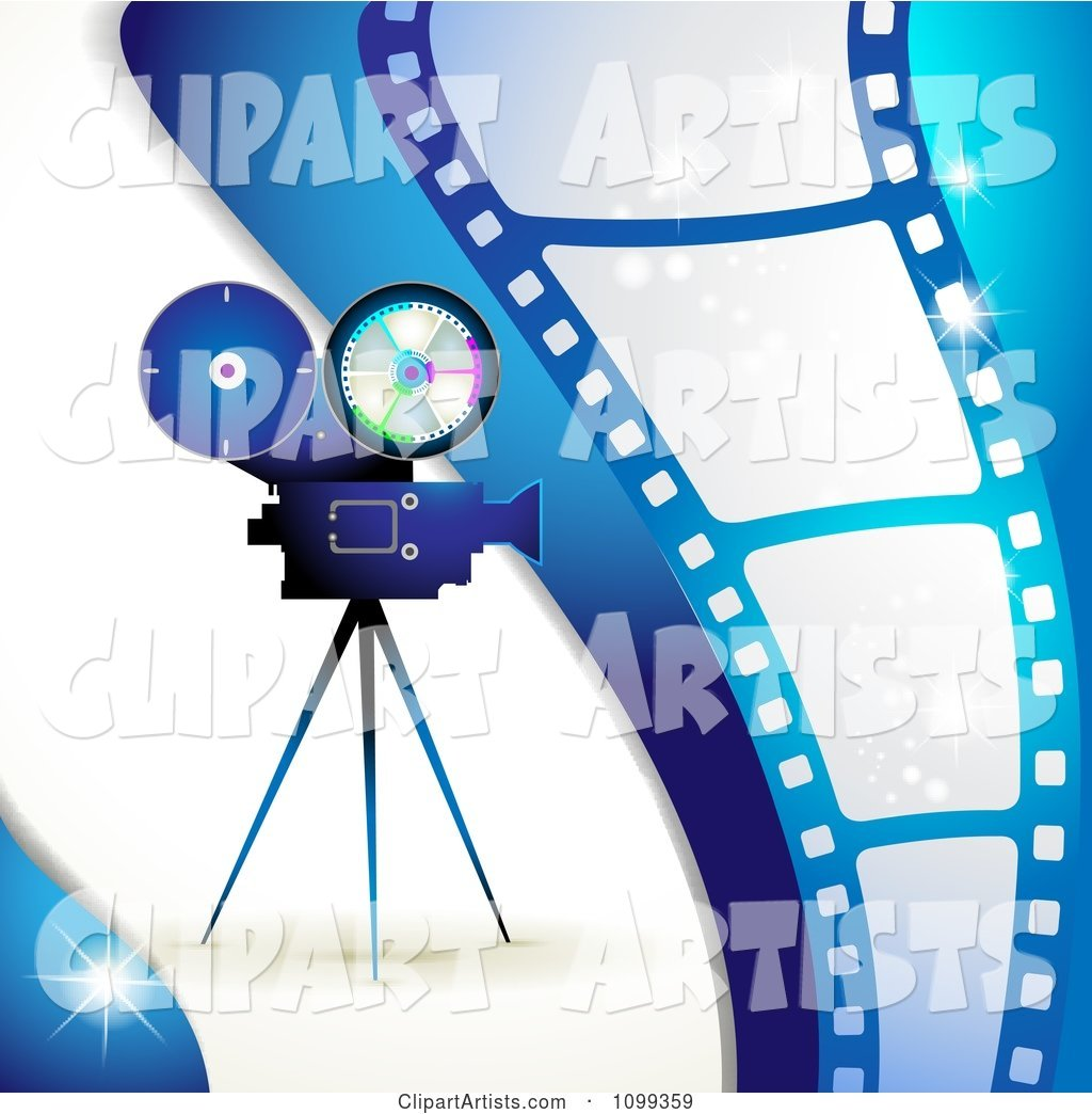 Blue Movie Camera and Film Strip Background