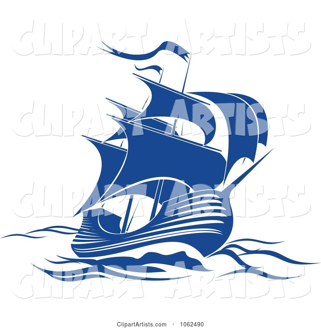 Blue Sailing Ship 2
