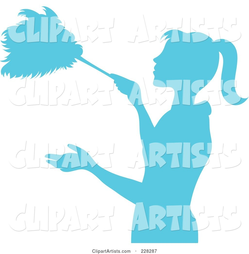 Blue Silhouetted Maid Dusting with a Feather Duster