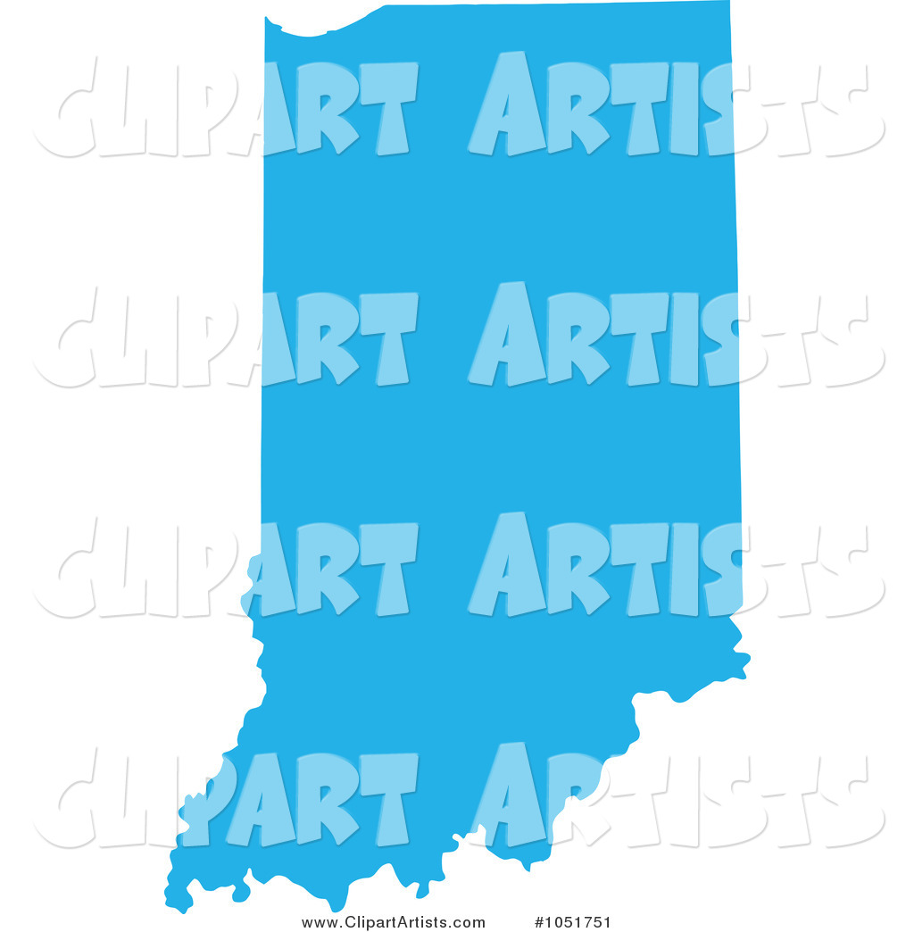 Blue Silhouetted Shape of the State of Indiana, United States