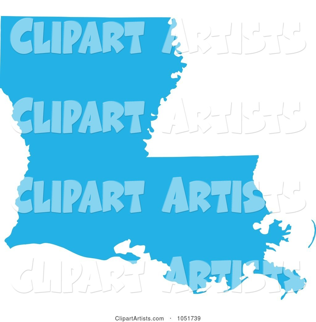 Blue Silhouetted Shape of the State of Louisiana, United States