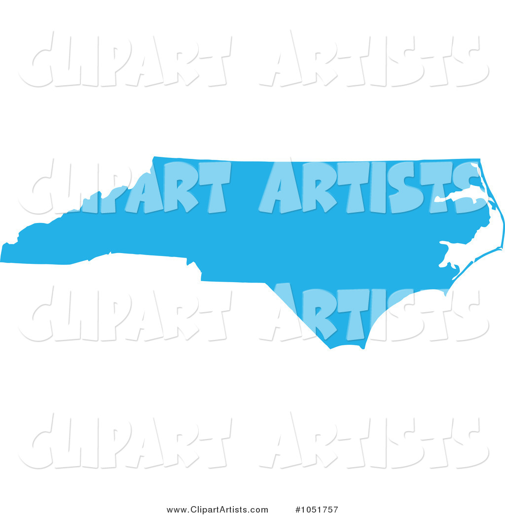 Blue Silhouetted Shape of the State of North Carolina, United States