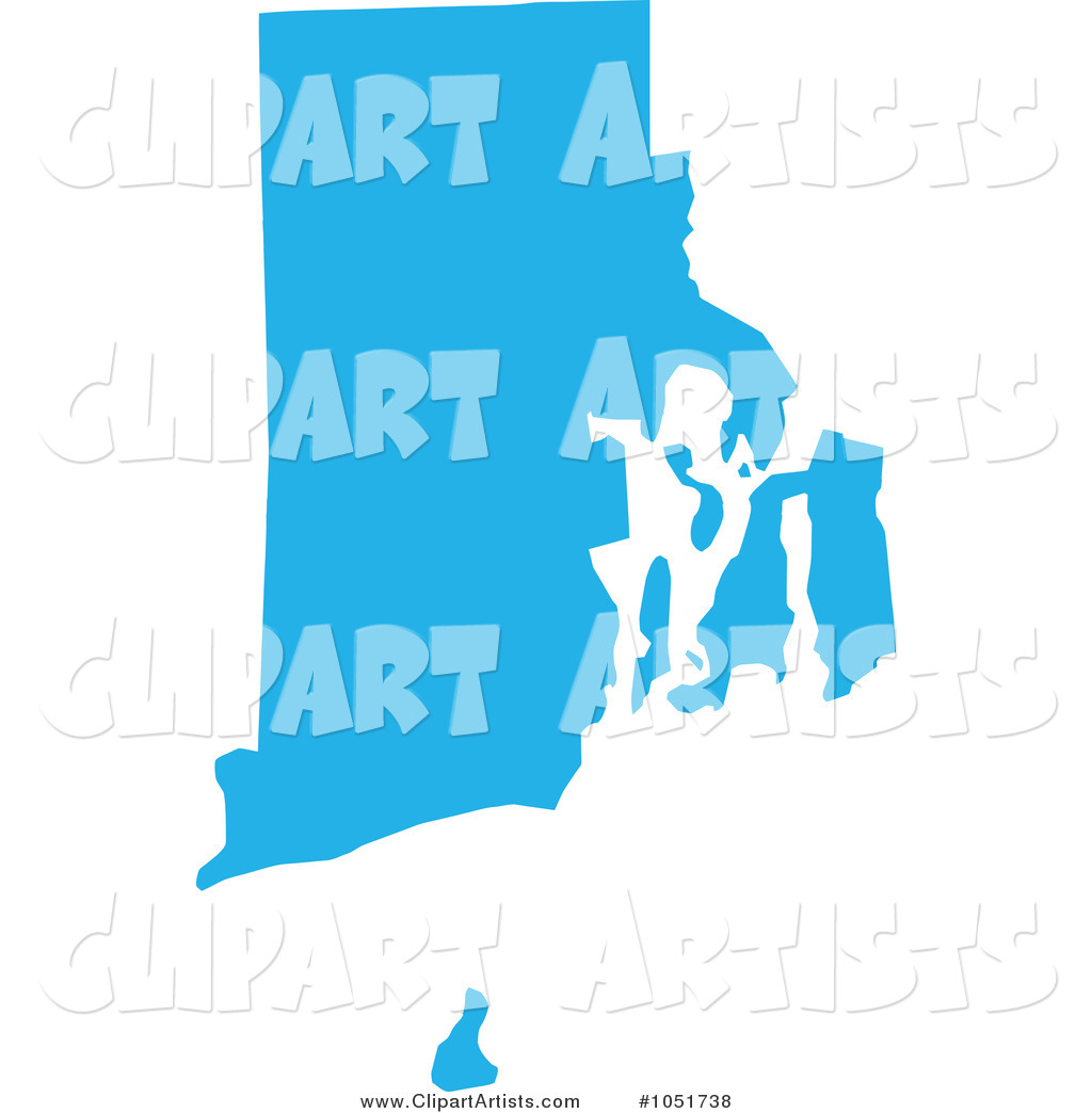 Blue Silhouetted Shape of the State of Rhode Island, United States