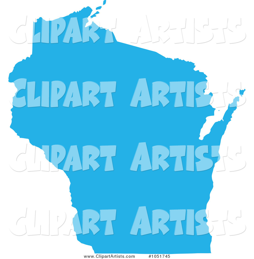 Blue Silhouetted Shape of the State of Wisconsin, United States