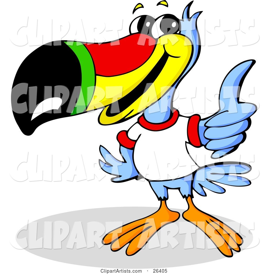Blue Toucan Bird with a Red, Yellow, Green and Black Beak, Wearing a White T Shirt and Giving the Thumbs up