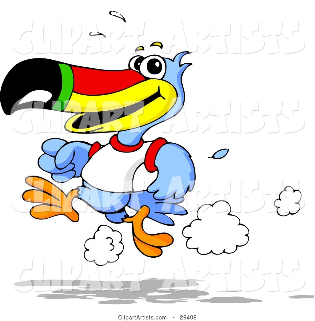 Blue Toucan Bird with a Red, Yellow, Green and Black Beak, Wearing a White T Shirt and Running on a Track