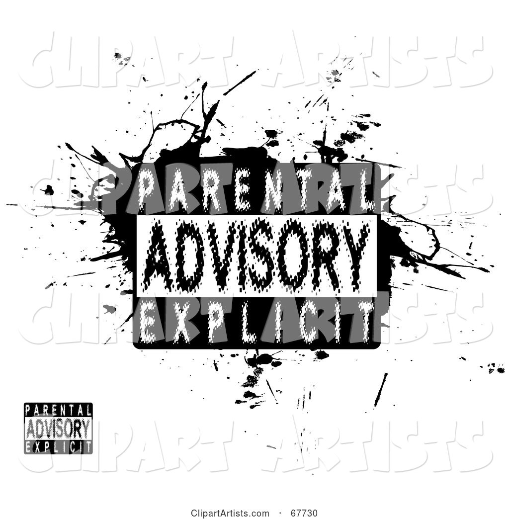 Blurred Parental Advisory Explicit Stamp on Black Grunge and White