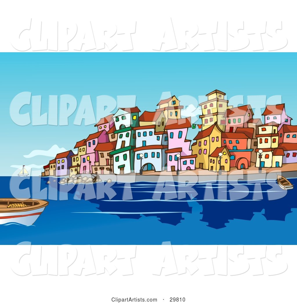 Boats and People in the Harbor near a Mediterranean Waterfront Town with Colorful Buildings