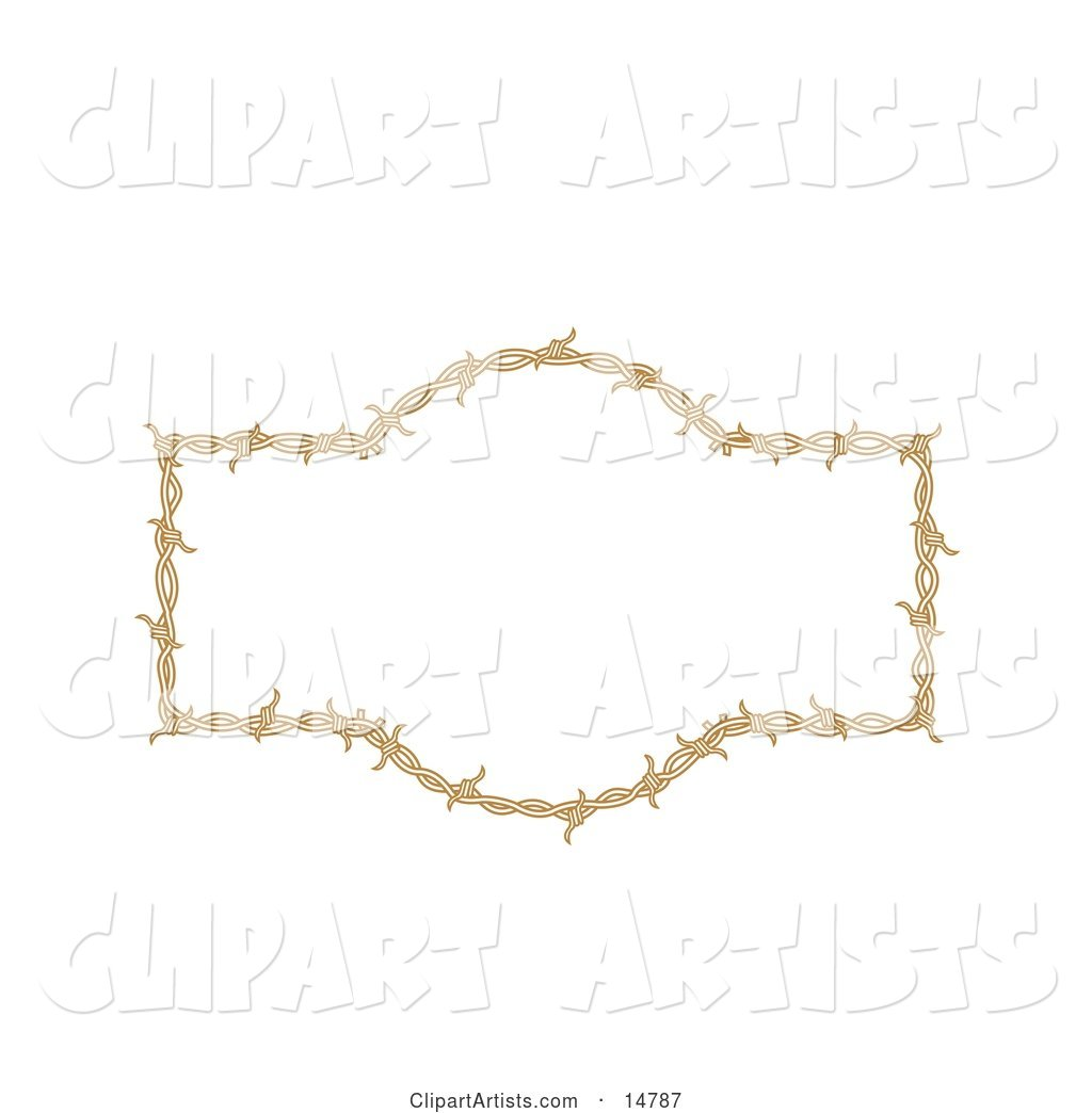 Border Frame of Barbed Wire over a White Background