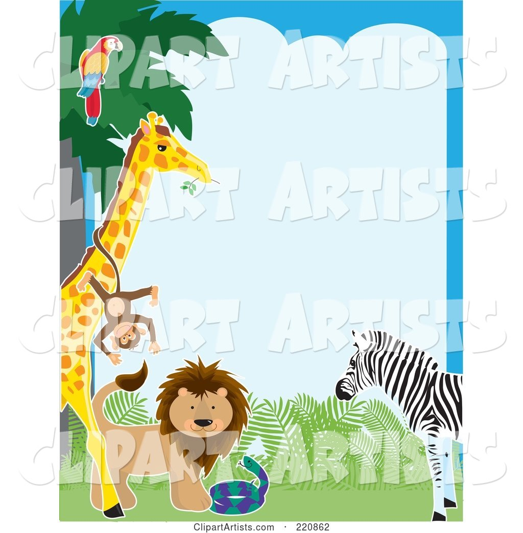 Border of a Parrot in a Tree, Monkey on a Giraffe, Lion, Snake and Zebra