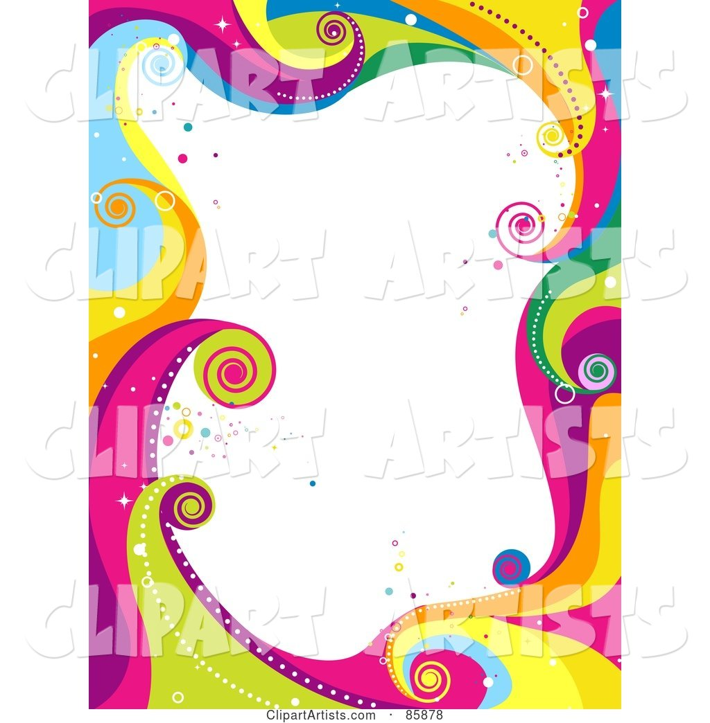 Border of Funky Colorful Waves and Circles with White Space