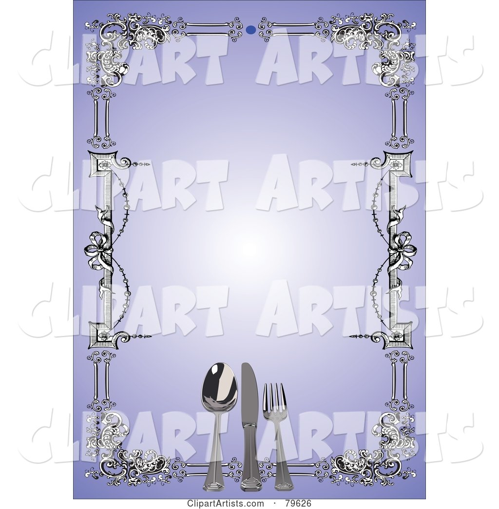 Border of Silverware and Carvings Around a Blank Purple Menu Background