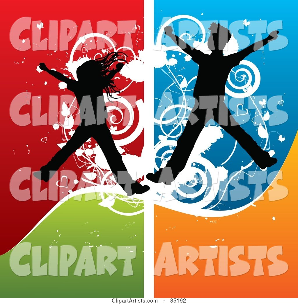 Boy and Girl Silhouettes Jumping over a Grungy Colorful Background