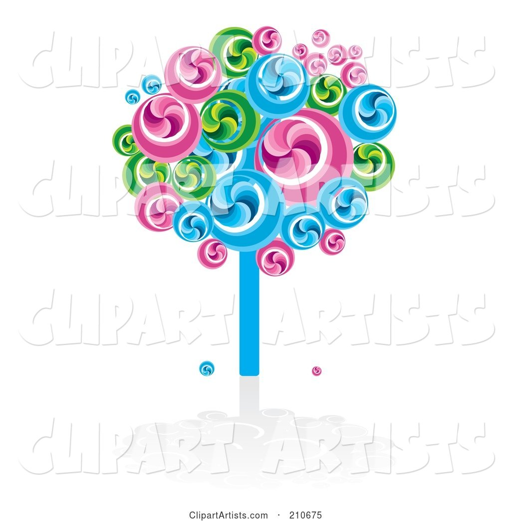 Bright Swirly Fruit Tree in Blues, Greens and Pinks