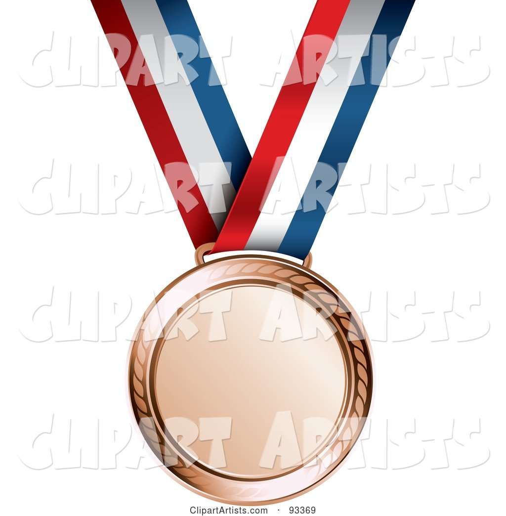 Bronze Medal Award on a Red, White and Blue Ribbon