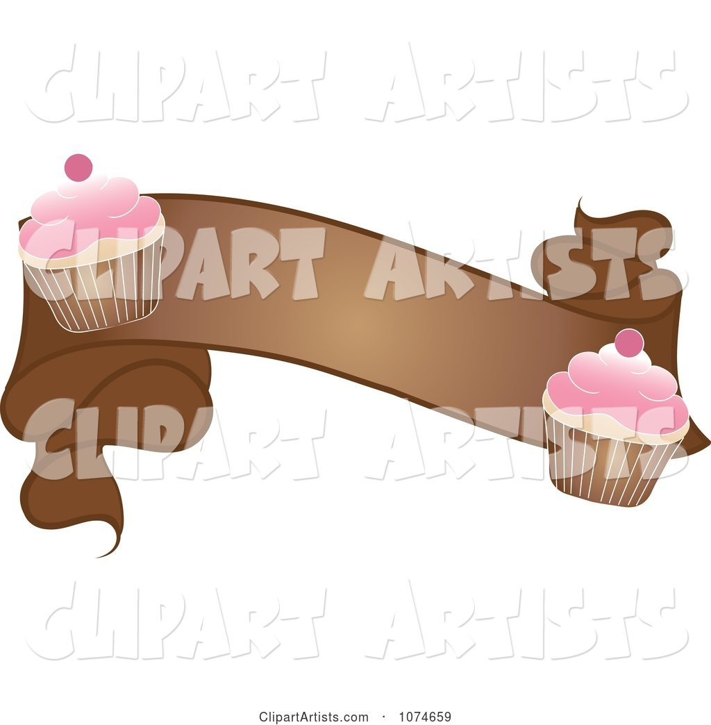 Brown Banner with Cherry Frosted Cupcakes