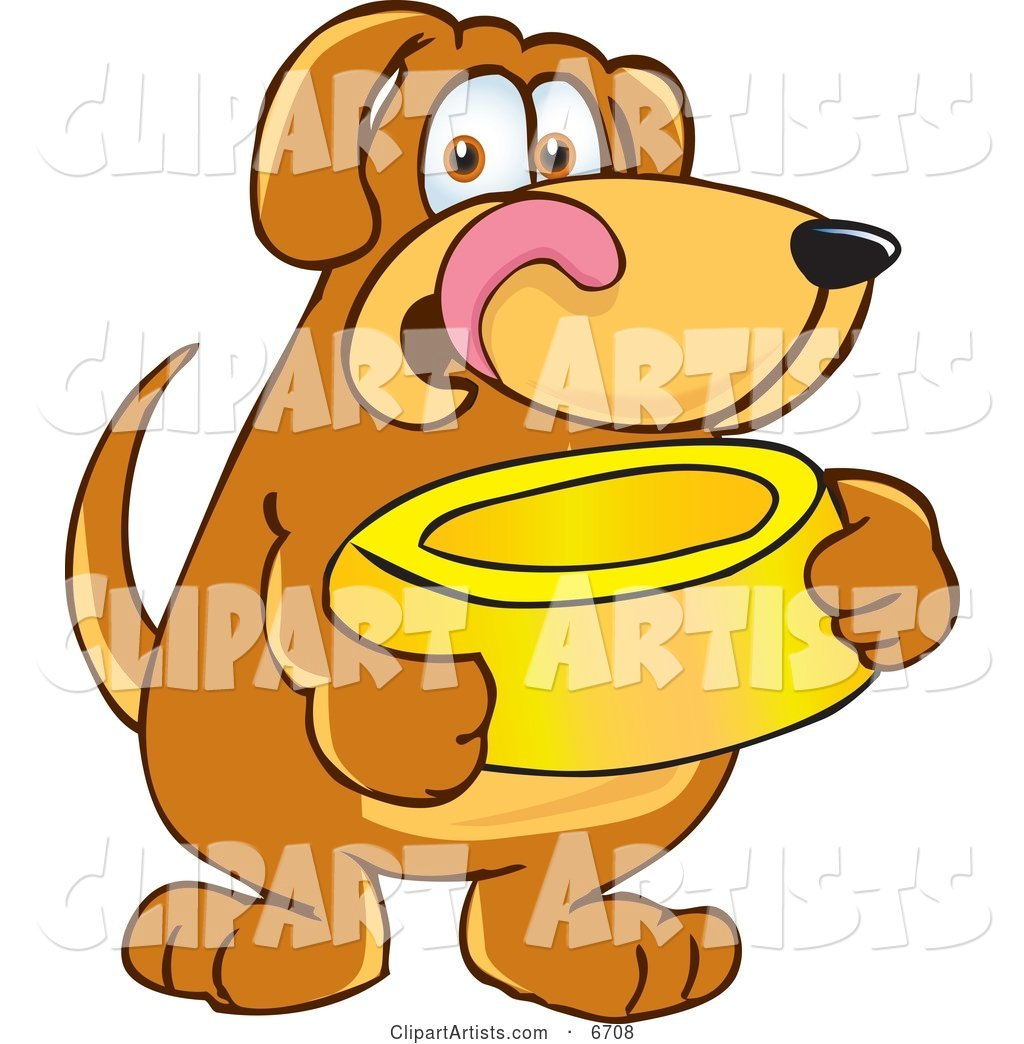 Brown Dog Mascot Cartoon Character Holding a Food Dish, Waiting to Be Fed