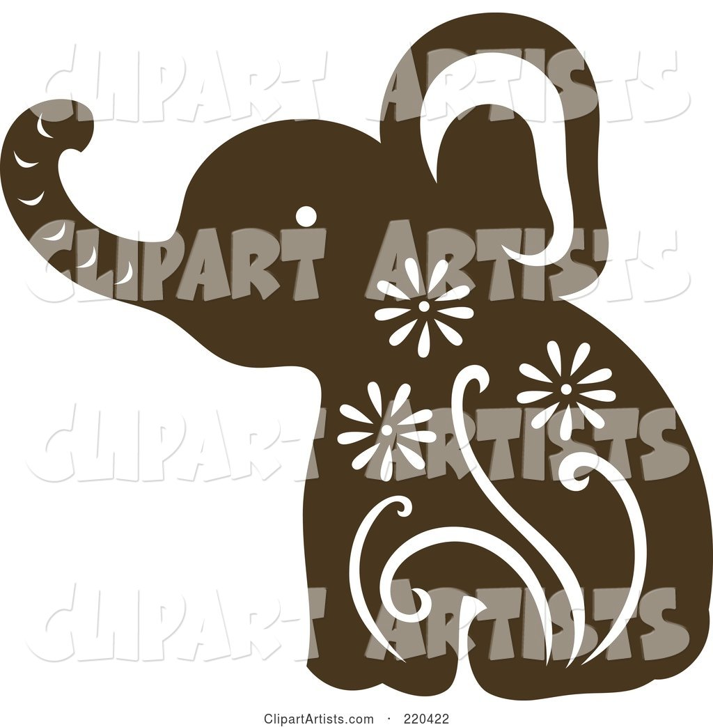 Brown Elephant with White Designs