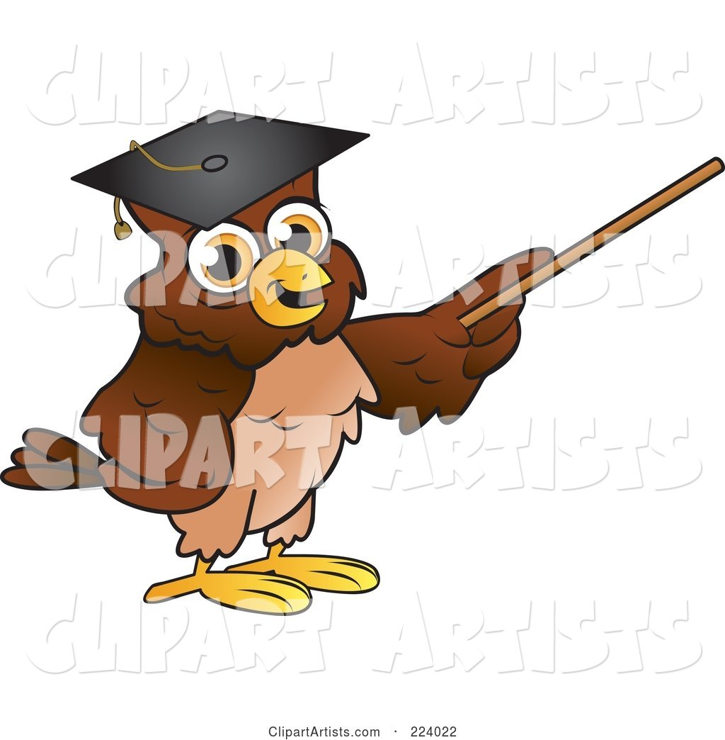 Brown Owl Wearing a Graduation Cap and Using a Pointer Wand