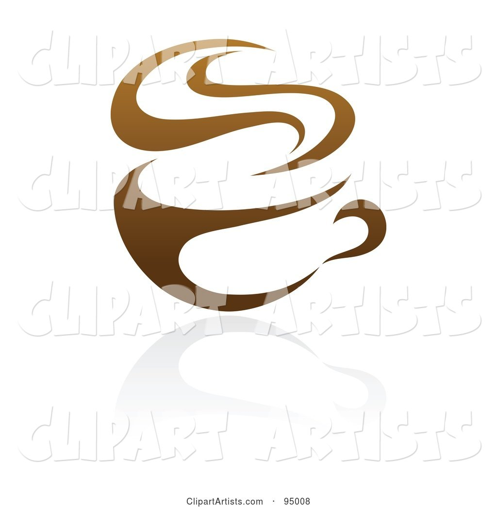 Brown Steamy Coffee Logo Design or App Icon - 1