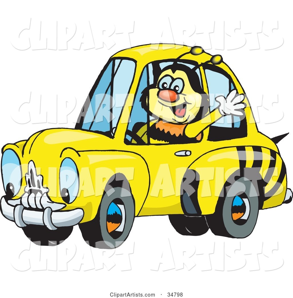 Bumble Bee Character Waving While Driving by in a Matching Car