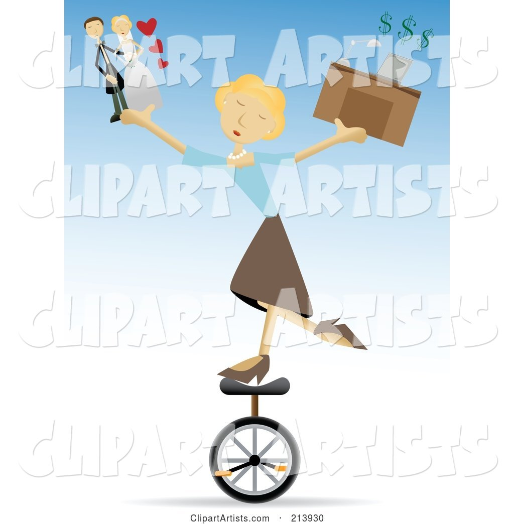 Busy Blond Woman Riding a Unicycle and Juggling Life Responsibilities
