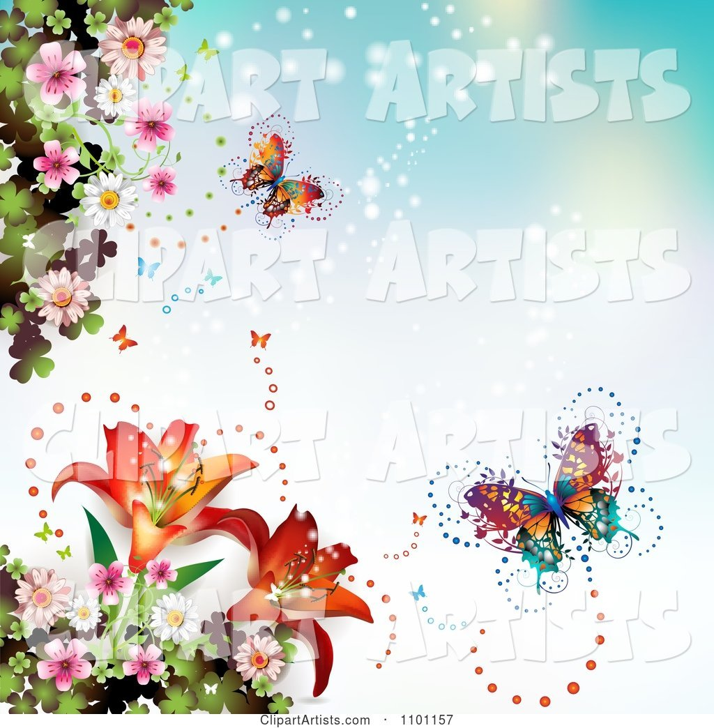 Butterflies with Sparkles Lilies and Blossoms on Blue