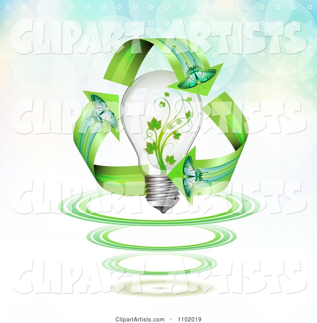 Butterfly Renewable Energy Arrows Around a Vine Light Bulb