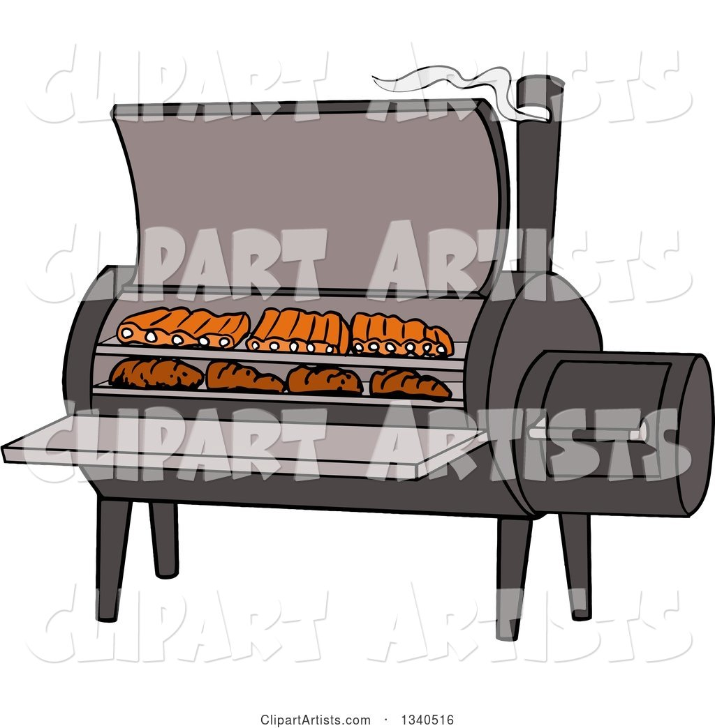 Cartoon Bbq Smoker with Ribs and Steaks