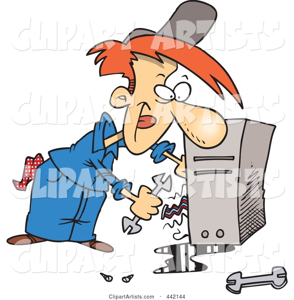 Cartoon Computer Repair Man Working On Wires Clipart by Ron Leishman ...
