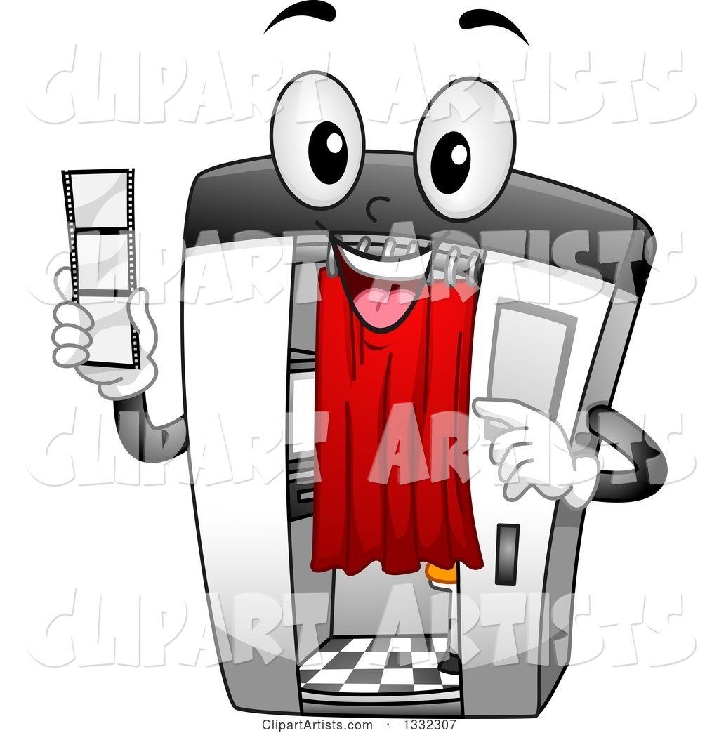 Cartoon Happy Photo Booth Character Holding a Film Strip