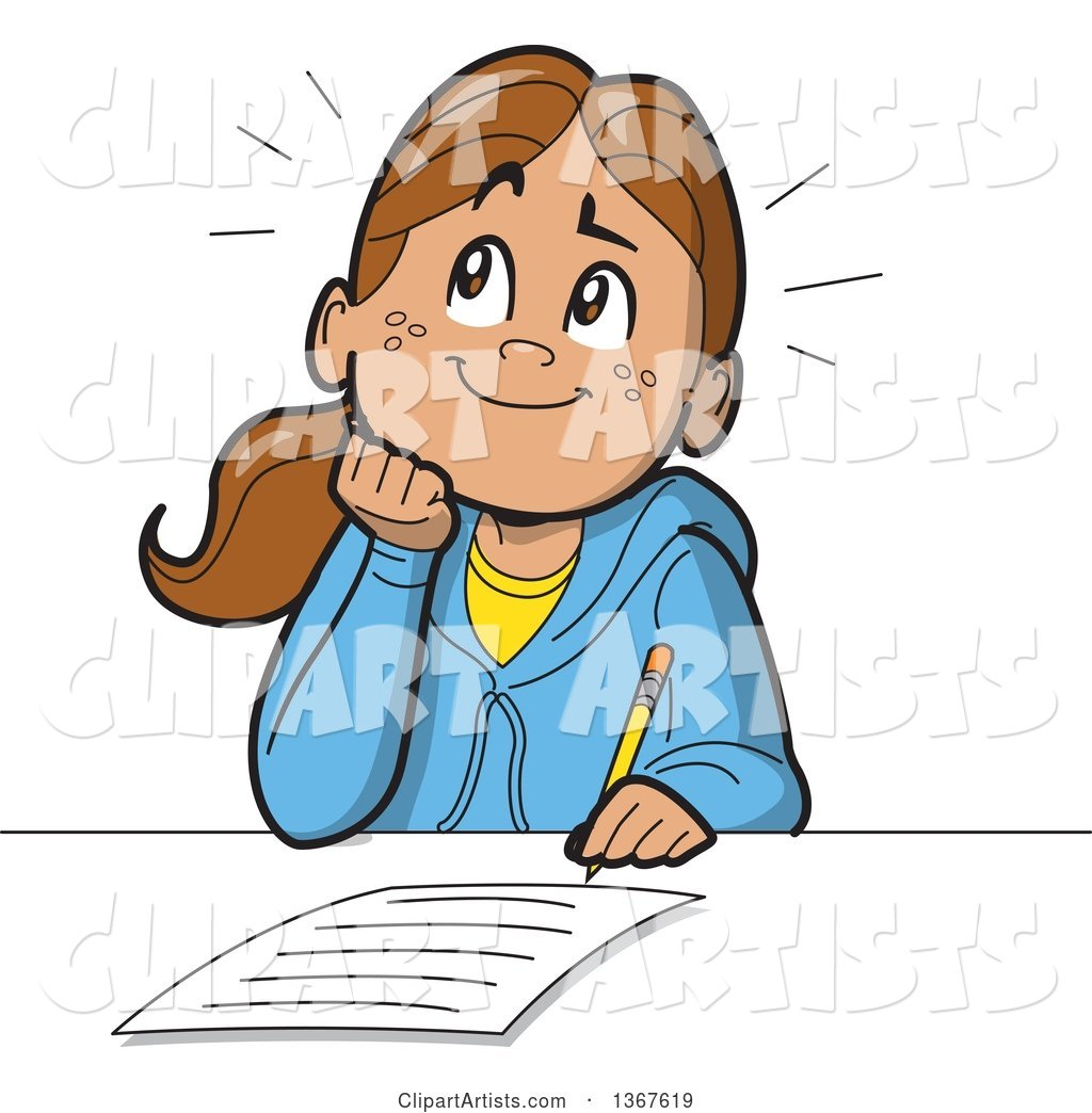cartoon happy school girl resting her chin on her hand thinking and rh clipartartists com girl writing letter clipart girl writing clipart black and white