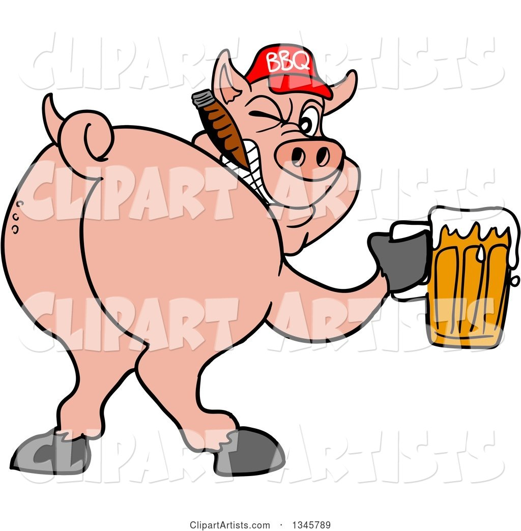 Cartoon Rear View of a Grinning Pig Looking Back, Smoking a Cigar, Wearing a Bbq Hat, Holding a Beer